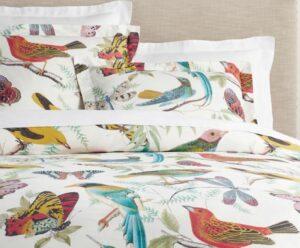 Fauna Bird Print Organic Percale Duvet Cover