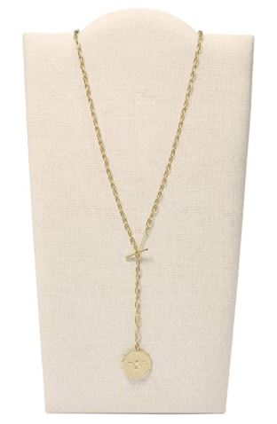 Fossil Women's Gold-Tone Stainless Steel Pendant Chain Necklace