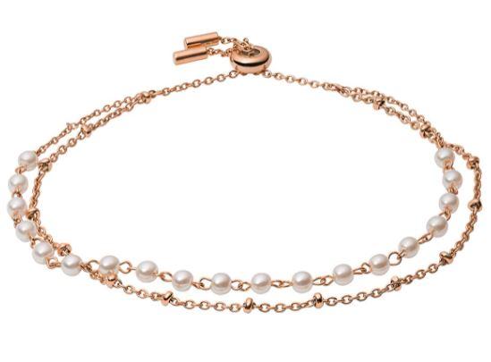 Fossil Women's Rose Gold-Tone Stainless Steel Beaded Bracelet