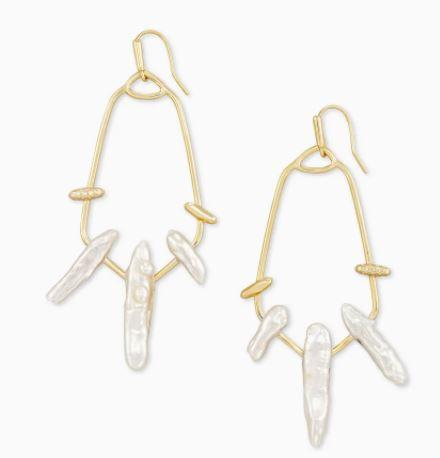 Kendra Scott Eileen Gold Statement Earrings In White Pearl