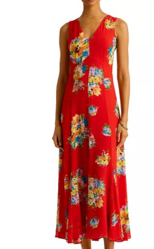 Lauren Ralph Lauren Floral Print Sleeveless Dress to look thinner