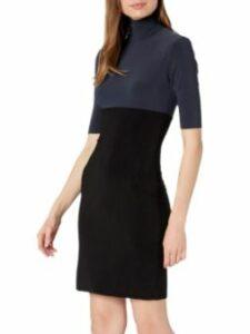 Norma Kamali Women's Spliced Slim Fit Short Sleeve Turtle Dress to Knee
