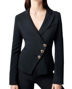 Smythe Tailored Asymmetric Wrap Stretch Blazer to look thinner