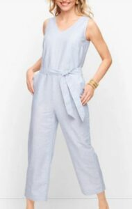 Talbots Linen Stripe Jumpsuit
