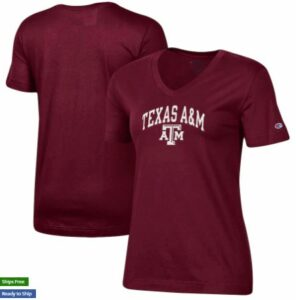 Texas A&M Aggies Champion Women's University Arch Logo V-Neck T-Shirt