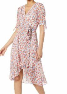 Tommy Hilfiger Women's Chiffon Quarter Sleeve Surplice Midi Dress