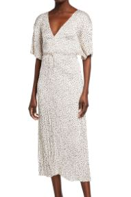 Vince Pleated Stone Dot Short-Sleeve V-Neck Dress to look thinner