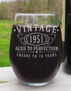 Vintage 1951 Etched 17oz Stemless Wine Glass
