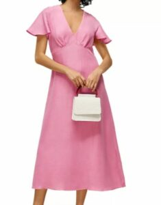Whistles Flutter Sleeve Midi Dress to look thinner