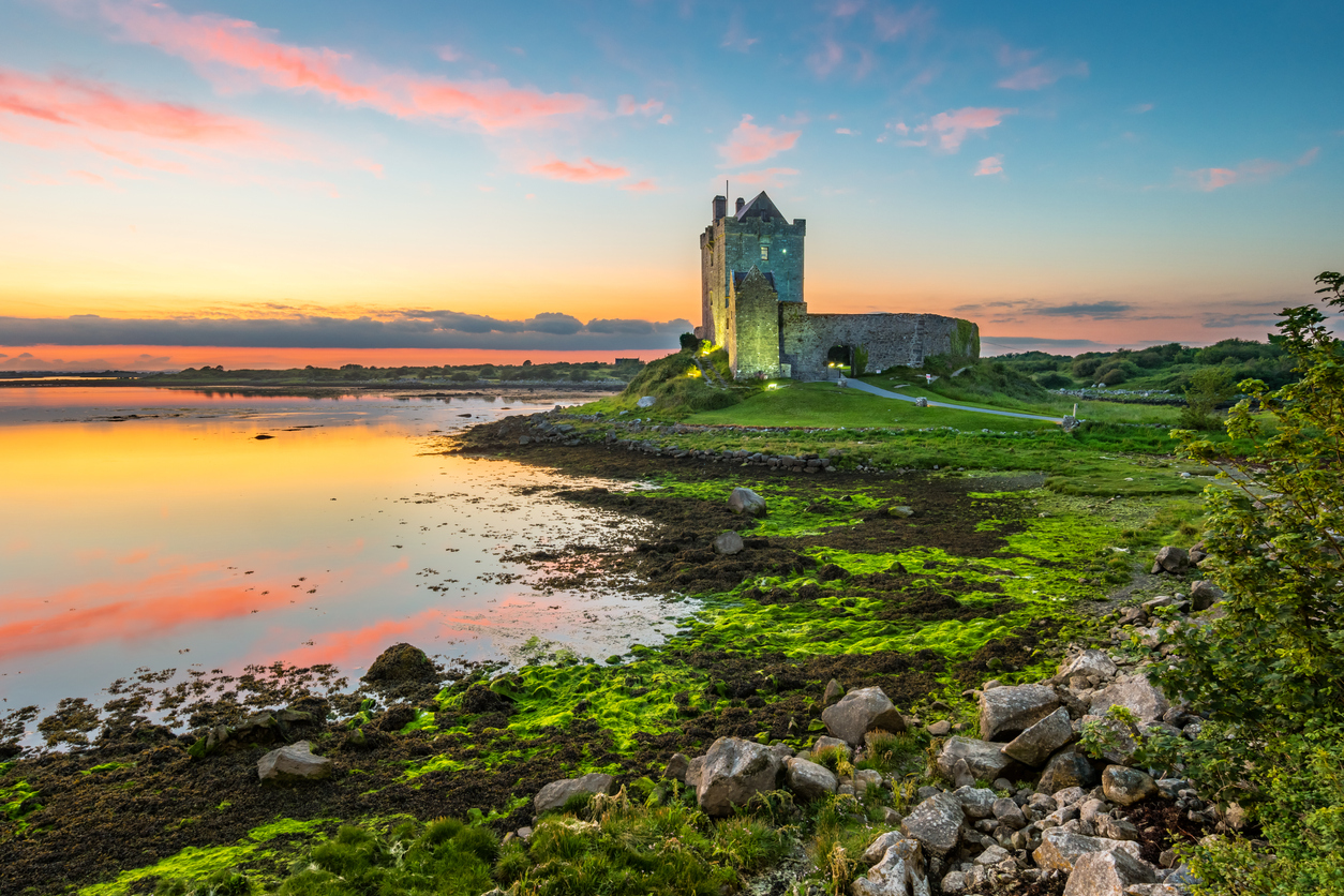 Travel to Europe and Dunguaire Castle on the shores of Galway Bay Ireland