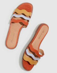 Madewell Joy Wavy Lizard Colorblock Slip On Sandals