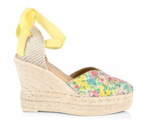 Manebi Loveshackfancy x Manebi Ankle-Tie Floral Suede Platform Espadrilles
