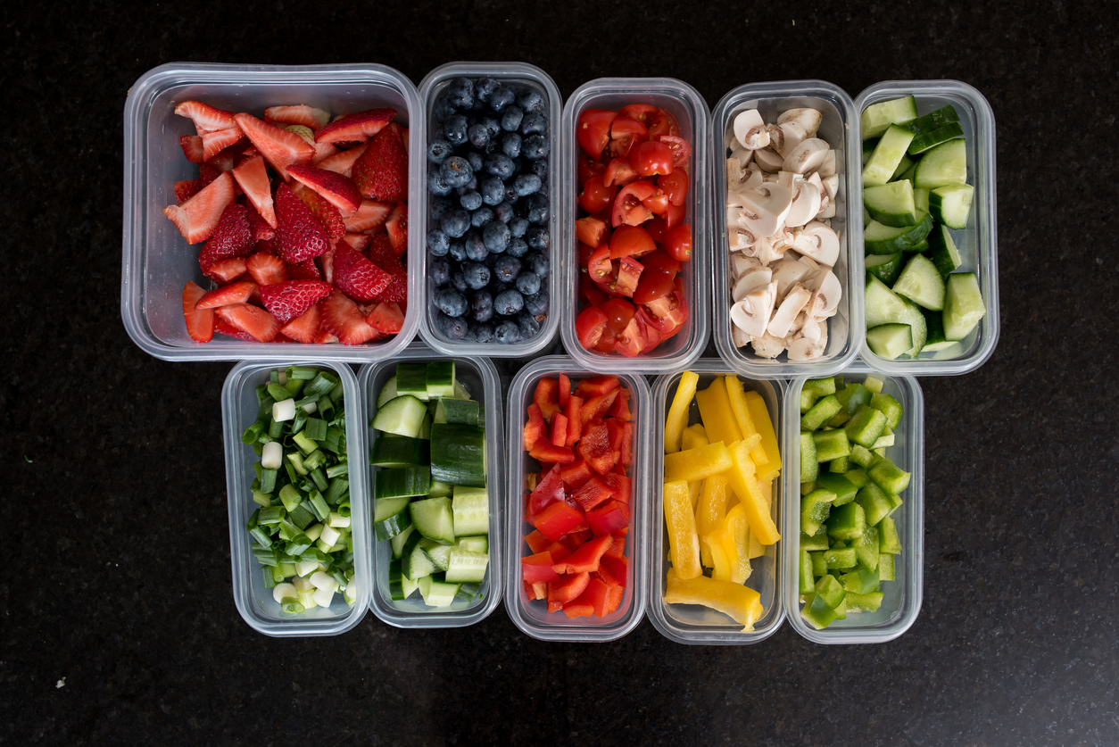 Prepare fruits and vegetables for healthy snacks