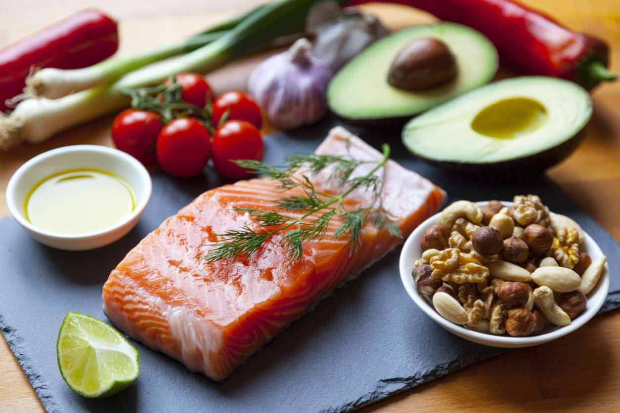 Longevity or Mediterranean diets include salmon, nuts and avocado. Healthy fats