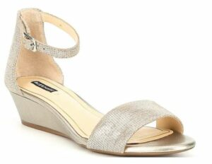 Mairitwo Metallic Leather Ankle Strap Wedge Sandals