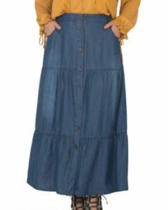 Denim Maxi Peasant Skirt