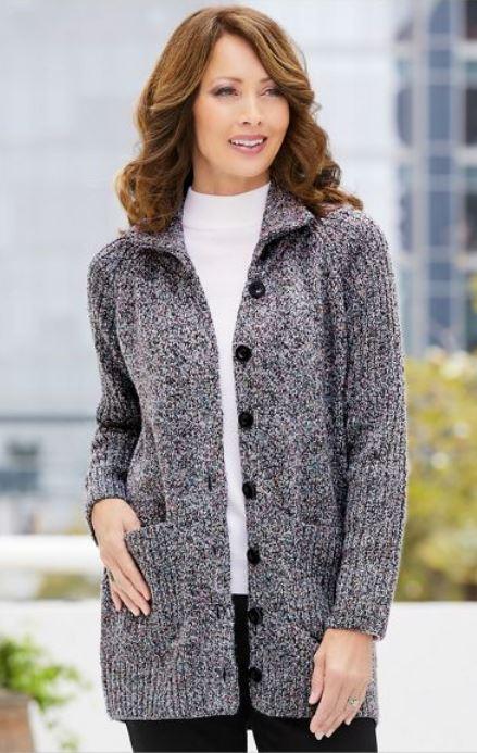 Drapers Marled Long Sleeve Sweater Jacket