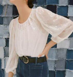 Eva Franco Sheer Sequined Blouse Bohemian Style