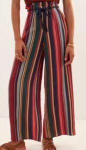Farm Rio Striped Wide-Leg Pants Bohemian Style