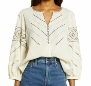 Madewell Embroidered Peasant Top Bohemian Style