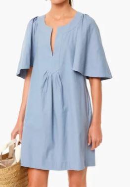 Tnuck Slate Blue Finley Flutter Sleeve Dress