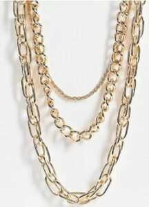 Topshop mixed link multirow chain necklace in gold