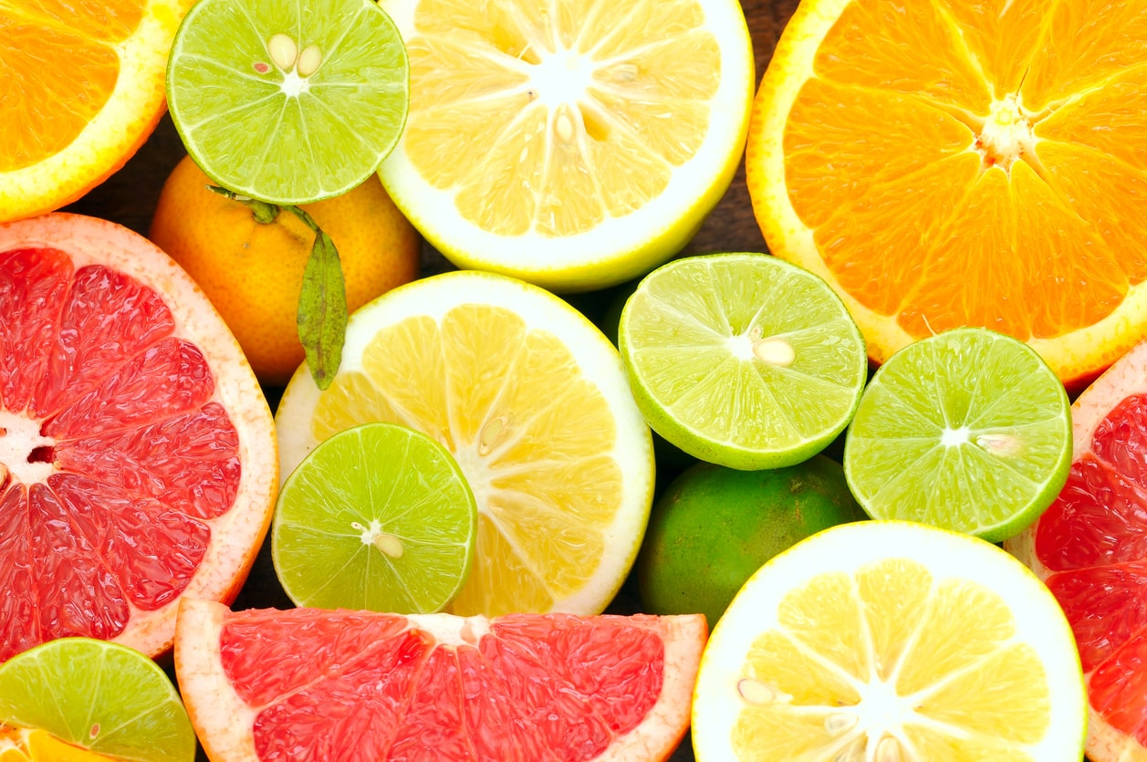 Fresh fruits, citrus fruits, limes, oranges, lemons, grapefruit