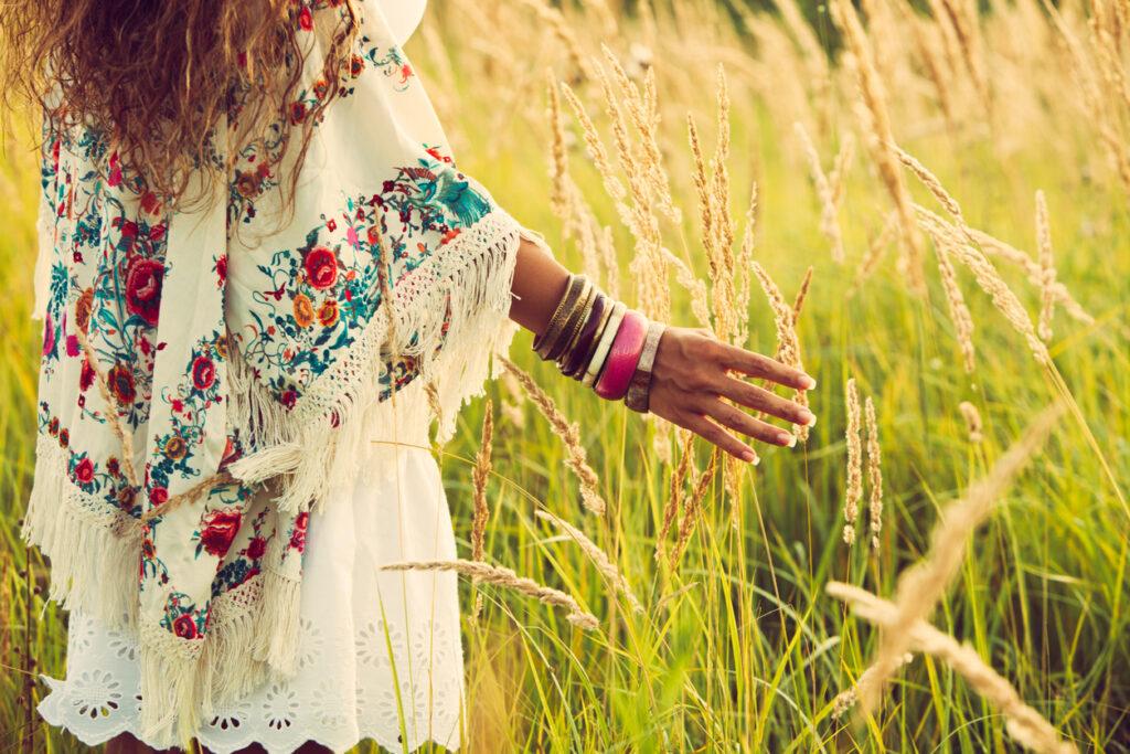 Woman wearing bohemian style clothing