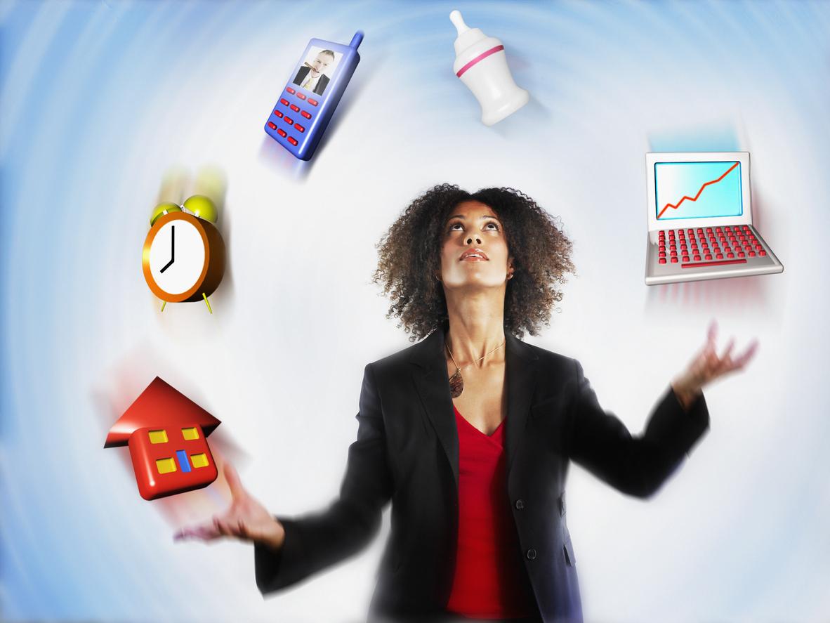 Busy woman juggling responsibilities