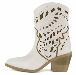 SOPHITINA Western White Cowboy Ankle Boots