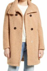 Sam Edelman Double Breasted Faux Shearling Teddy Coat
